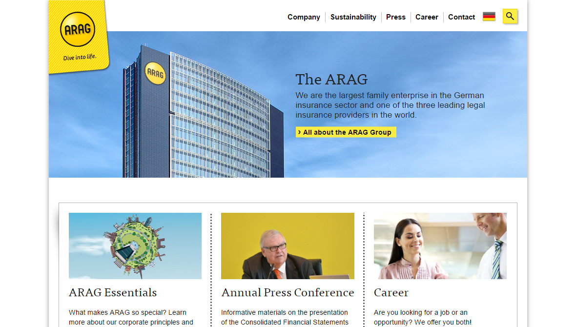 Arag Home page