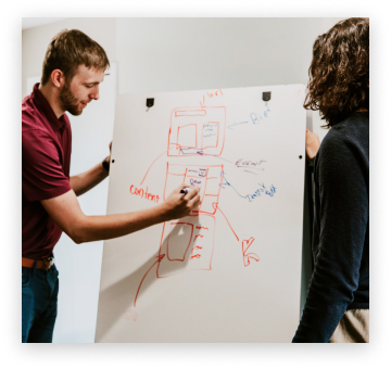 Team members discussing user experience on white board